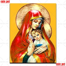 5D Volle Runde Bohrer Religiöse Symbol Jungfrau und sohn Diy Diamant Malerei set Kreuz Stich kunst Kits Diamant Mosaik Stickerei decor