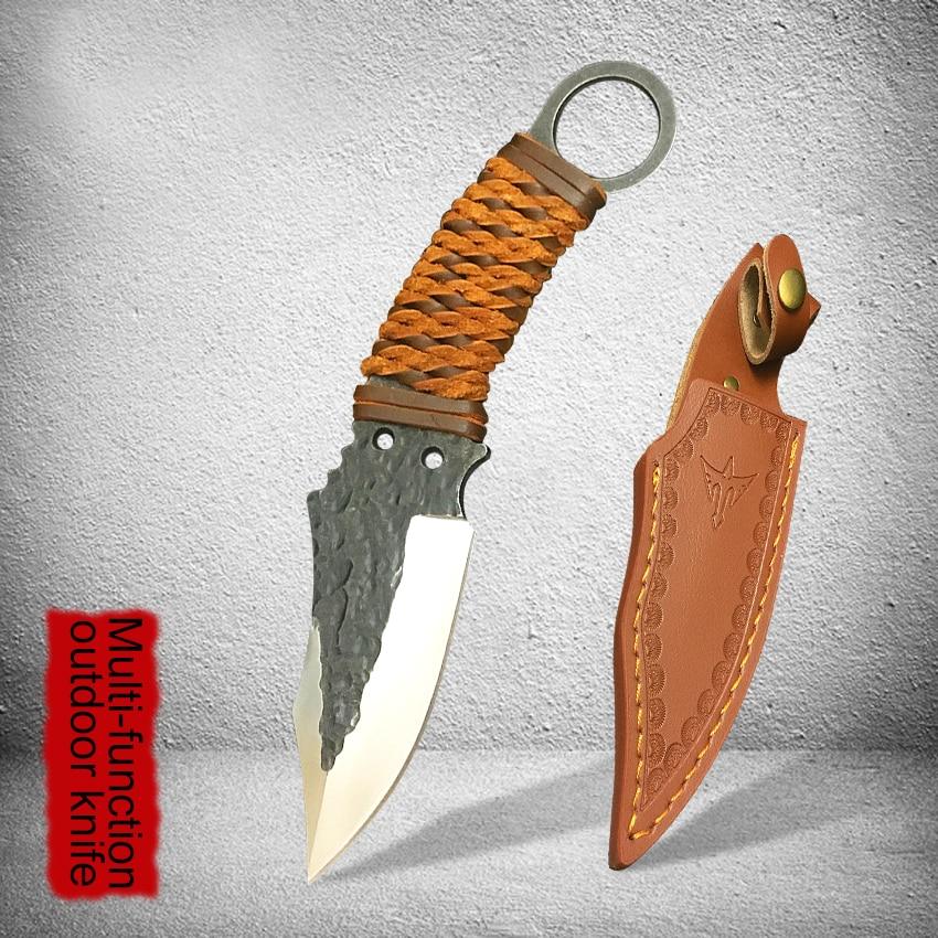 Cuchillo recto forjado de mano pura 59HRC cuchillo de supervivencia de campo de acero de alto carbono mejor herramienta multifunción de colección de pesca de buceo.