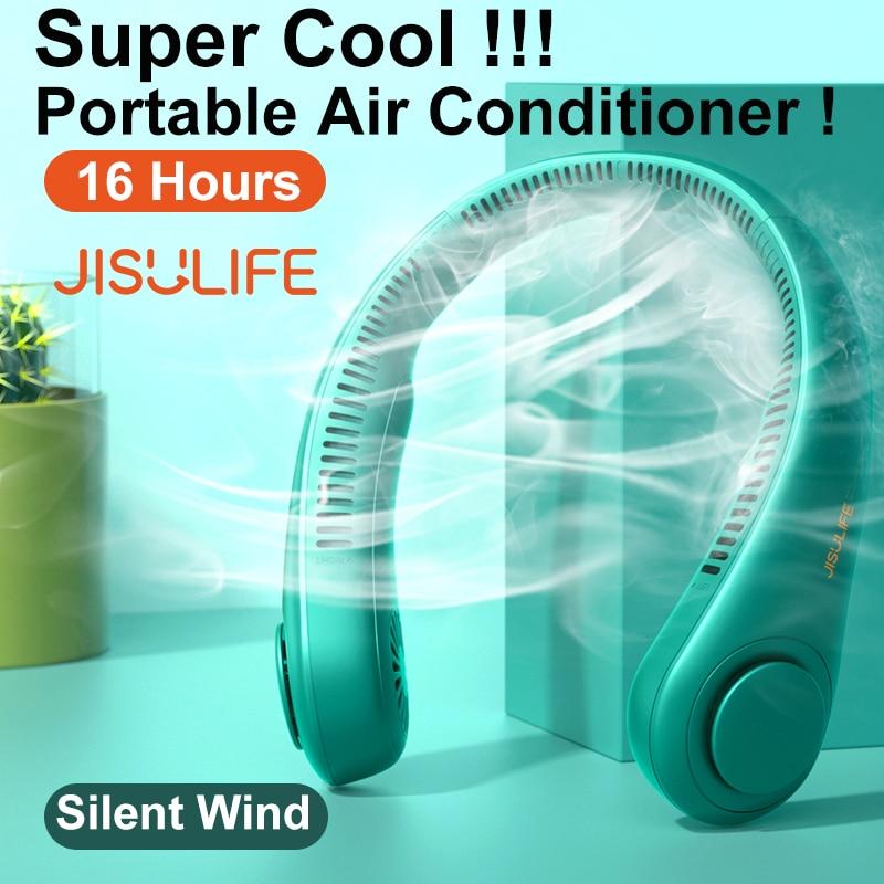 JISULIFE-miniventilador de cuello portátil sin aspas, Ventilador deportivo silencioso recargable por USB...