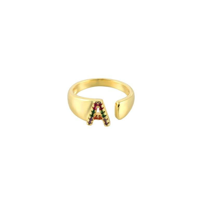 Inital carta alfabeto anel de ouro cz diy A-Z 26 anéis criativo família letras anéis jóias acessórios para a mulher homem