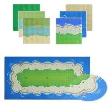 Bloques de construcción compuestos placa Base ciudad colorida río arena playa isla Base placa Base mar Compatible con todas las marcas