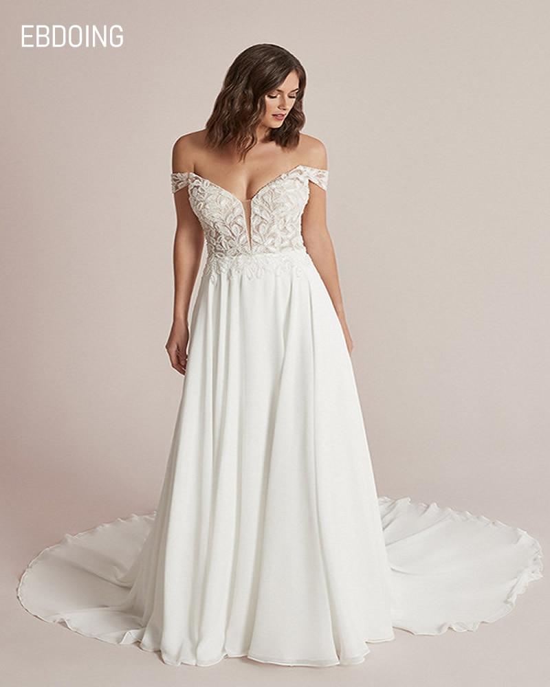 Promo Newest Wedding Dress For Bride A-line Deep V-neck Neckline Off The Shoulder Vestidos De Novia Custom Made Plus Size Bride Gown