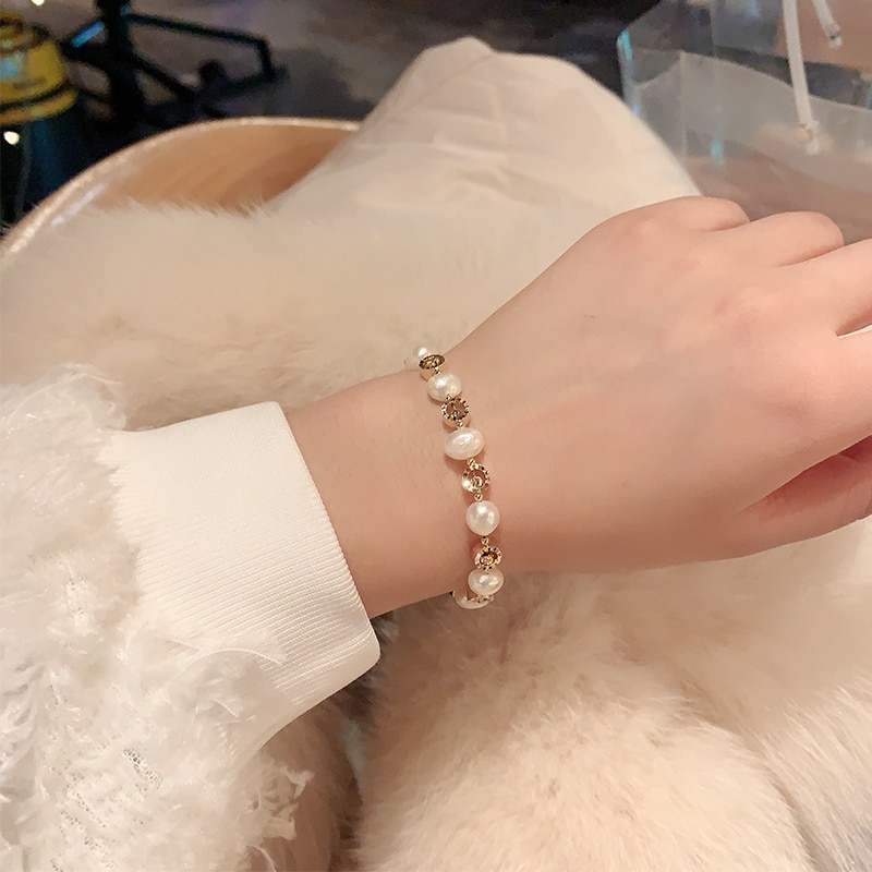 Baroque Shaped Pearl Bracelet Ins Special-Interest Design Retro Temperamental Cold Style Simple Girl
