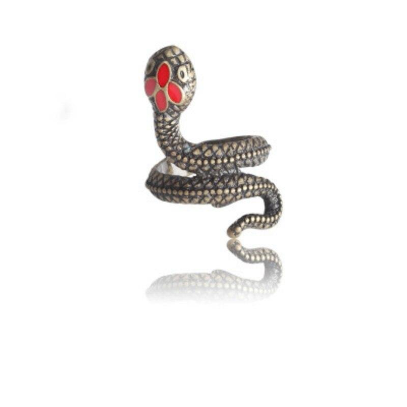 Nuevo anillo de moda Punk Animal gótico negro plata Metal serpiente anillos Gor hombres mujeres ajustable Unisex anillos joyería Drop Shipping
