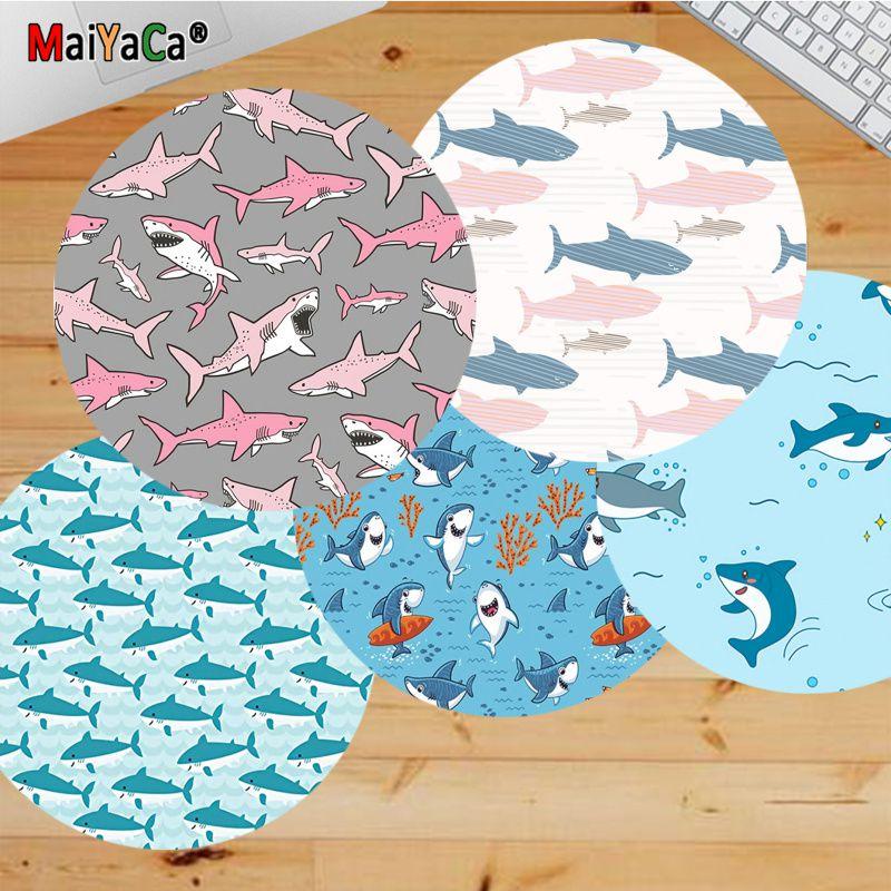 Подарочный коврик Maiyaca для мальчиков, милые Мультяшные игровые коврики с акулами, Круглый игровой коврик для мыши, игровой коврик для мыши, к...