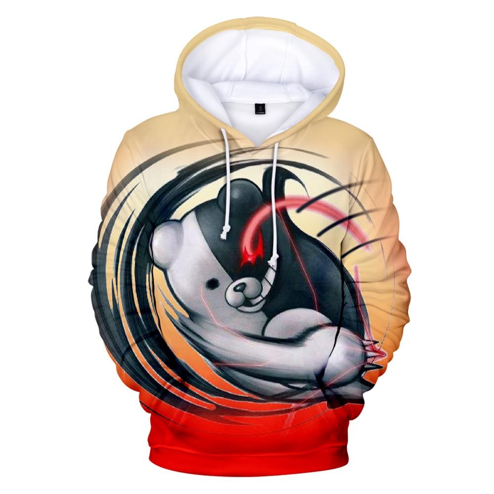 3d-толстовки Monokuma, мужские и женские Толстовки, Толстовки в стиле Харадзюку, пуловеры с капюшоном и 3D-принтом, толстовки Monokuma, мужская одежда