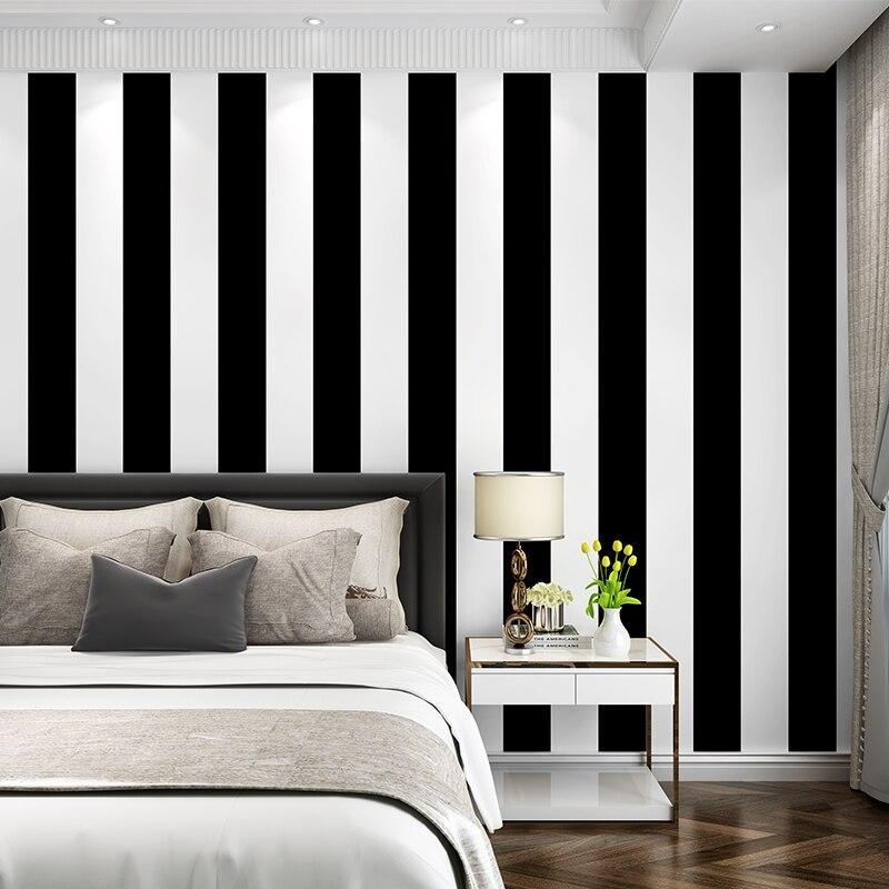 Papel pintado clásico gris negro impermeable PVC rollo blanco brillante y Negro rayas verticales Fondo papel de pared sala de estar