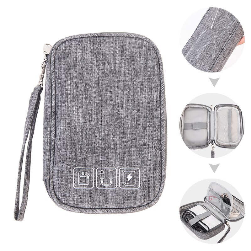 Cable Storage Bag Charger Wires Headphones Organizer Power Bank Electronic Gadget Digital Case Travel Zip Pouch Accessories Item