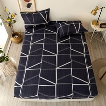 3 pcs Bedsheets Fitted Sheet Elastic Bed Linen  Mattress Cover Geometric Pattern print Bed Sheets An