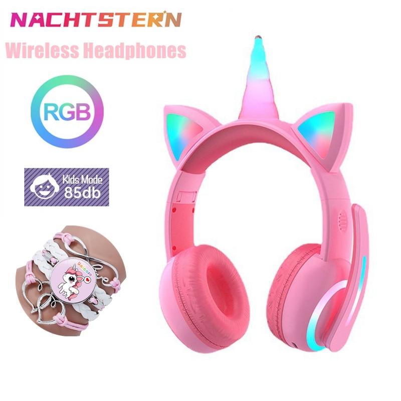 Auriculares inalámbricos unicornios con luz LED, 3 modos brillantes, reducción de ruido,...