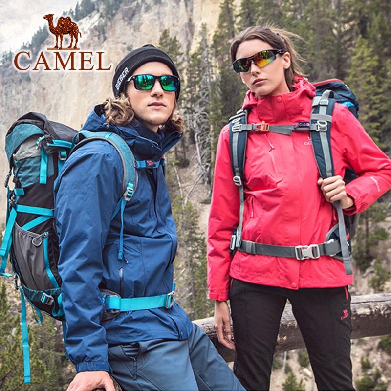 CAMEL Women Men Outdoor Hiking Jacket Solid Color Thermal Fleece Inner Waterproof Windbreaker Hiking Trekking Coats Unisex