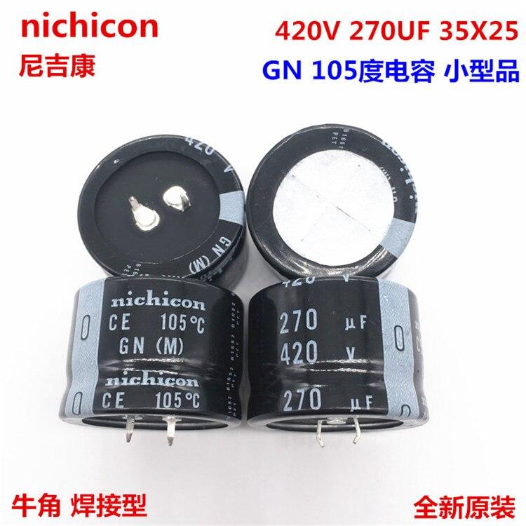 2PCS/10PCS 270 미크로포맷 420v 니치콘 GN 35x25mm 420V270uF 스냅인 PSU 커패시터