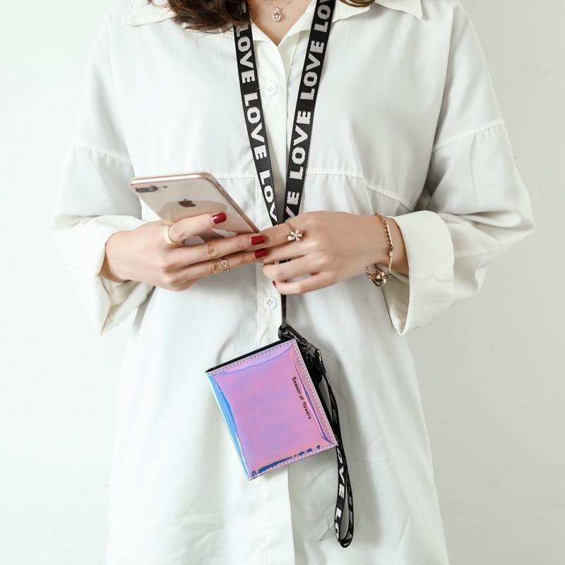 Nova carteira a laser holograma carteira feminina bolsa com pescoço pingente pulseira moedas bolso carteras pu bolsa de couro billfold cluthes