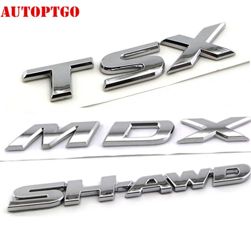 Серебряный автомобиль задний багажник 3D письмо MDX TSX SH-AWD эмблема стикеры значок наклейка для Acura
