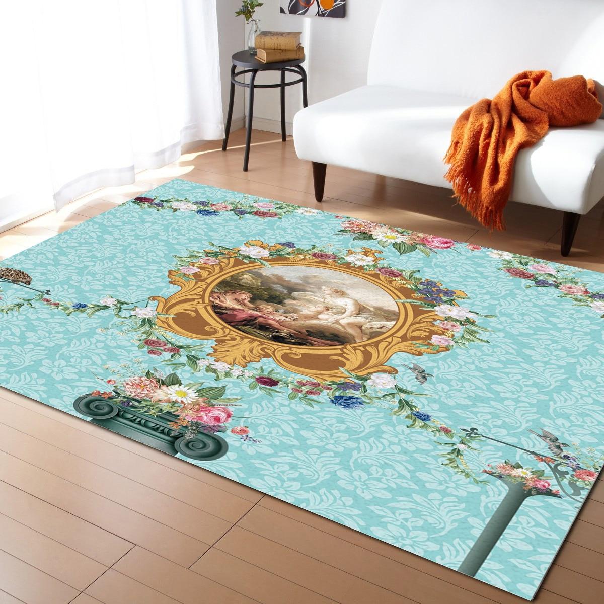 سجادة زهور أوروبية عتيقة ، ديكور غرفة نوم ، بطانية بجانب السرير ، غرفة معيشة ، غرفة مرحاض