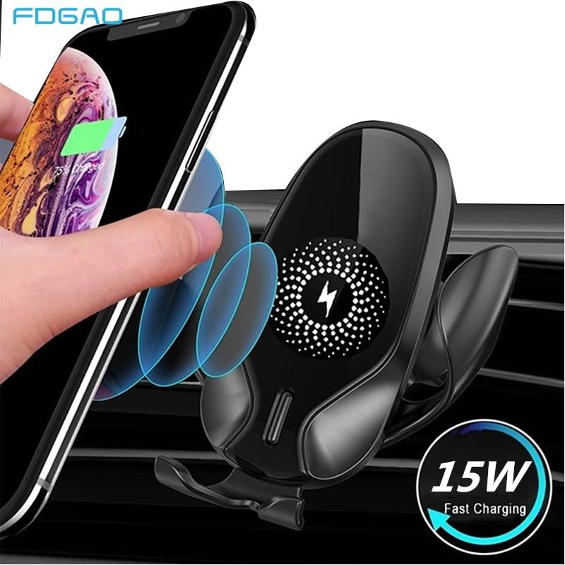 FDGAO 15W gravedad Qi coche inalámbrico del montaje del cargador para el IPhone 11 Pro XS XR 8X8 Teléfono de carga rápida para Samsung S20 S10 S9 S8