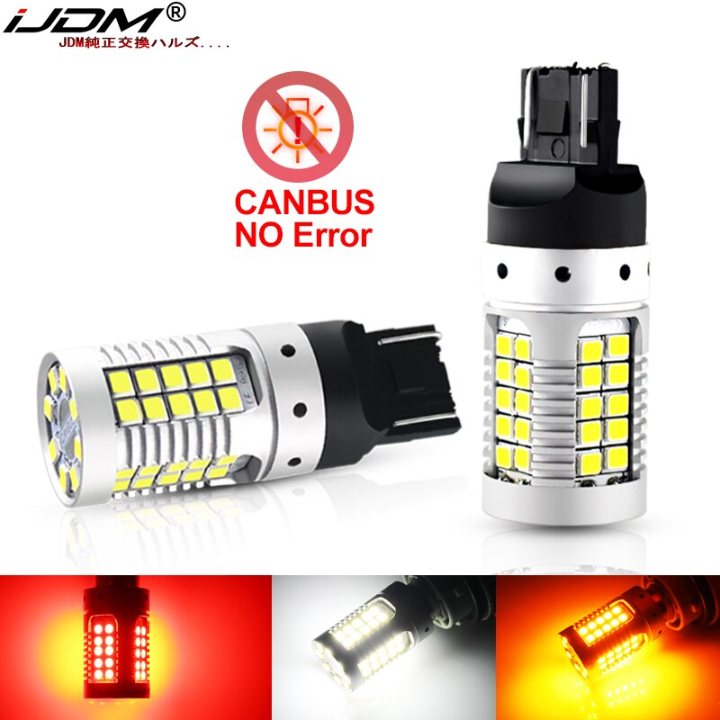 Luz trasera de coche iJDM 7443 LED Canbus 992 T20 W21/5W 7440 32SMD 3030 LED para coche de freno para automóvil lámpara trasera DRL de estacionamiento.