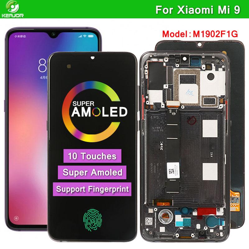 AMOLED LCD ل شاومي Mi 9 عرض 10 لمسات الشاشة ل شاومي Mi 9 LCD استبدال ل MI9 العالمي M1902F1G شاشة محول الأرقام