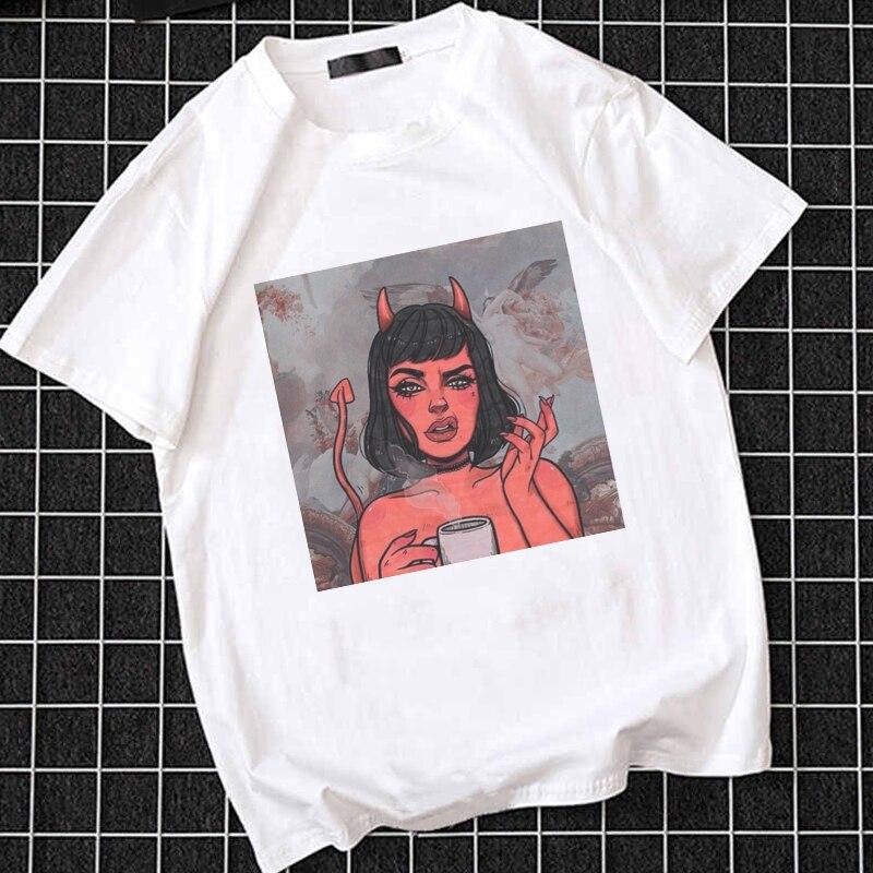 Verão branco amor & inferno impressão camiseta feminina chique harajuku vintage beijo me plus size t casual moda anjo & diabo camiseta feminina