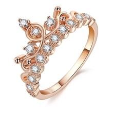 Mode luxe couronne bague déclaration femmes mariage Zircon bague de fiançailles tendance géométrique or argent couleur romantique fête cadeau