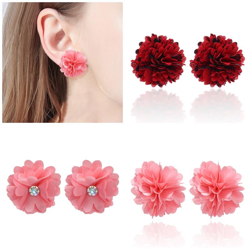 ¡Venta al por mayor! Pendientes geométricos coreanos de tela gótica, pendientes de flores para mujer, pendientes 2019, joyería de moda, pendientes Brincos
