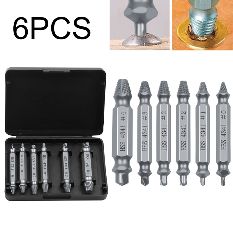 Drill Bits Screw Removers Out Stud Reverse Silver Anti-rust Tools 6pcs