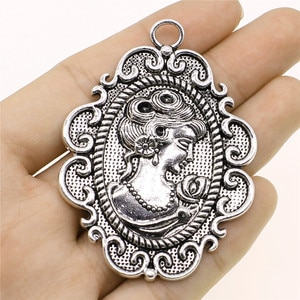 WYSIWYG 1pcs Charms Queen Avatar Antique Silver Color Alloy DIY Jewelry Making Accessories 49x67mm