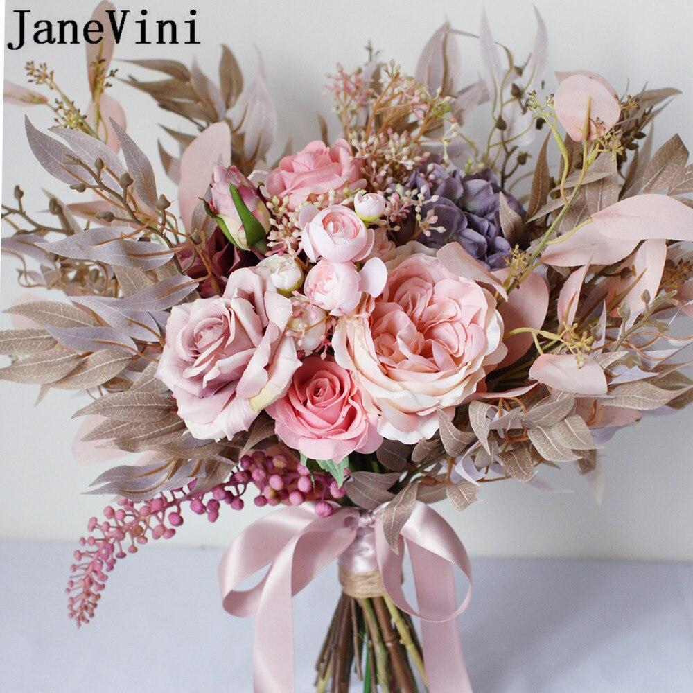 JaneVini, винтажный Свадебный букет с розовыми цветами, свадебный букет с шелковой розой пионом, Осенний Букет De Fleurs Artificielles 2020