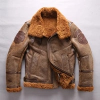 free shipping super warm genuine sheepskin jackets high quality mens large size bomber military shearling jacket
