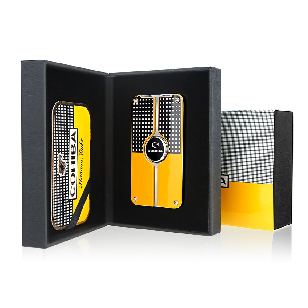COHIBA Cigar Lighter Torch Gift Box with 3 Jet Flame Refillable Butane With Punch Smoking Tool Acces