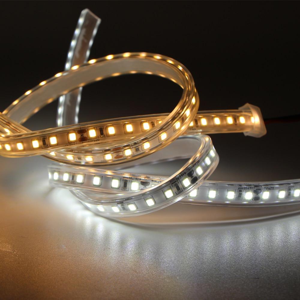 Tira de luz LED de 1-20m 2835 CRI>90 24V DC 120LED/m IP68 impermeable al aire libre Flexible tira de LED cinta de neón Cable de luz LED blanco