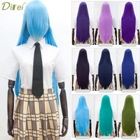 difei synthetic 100cm cosplay anime wigs blonde black blue hair for party long straight cosplay wigs for wome party