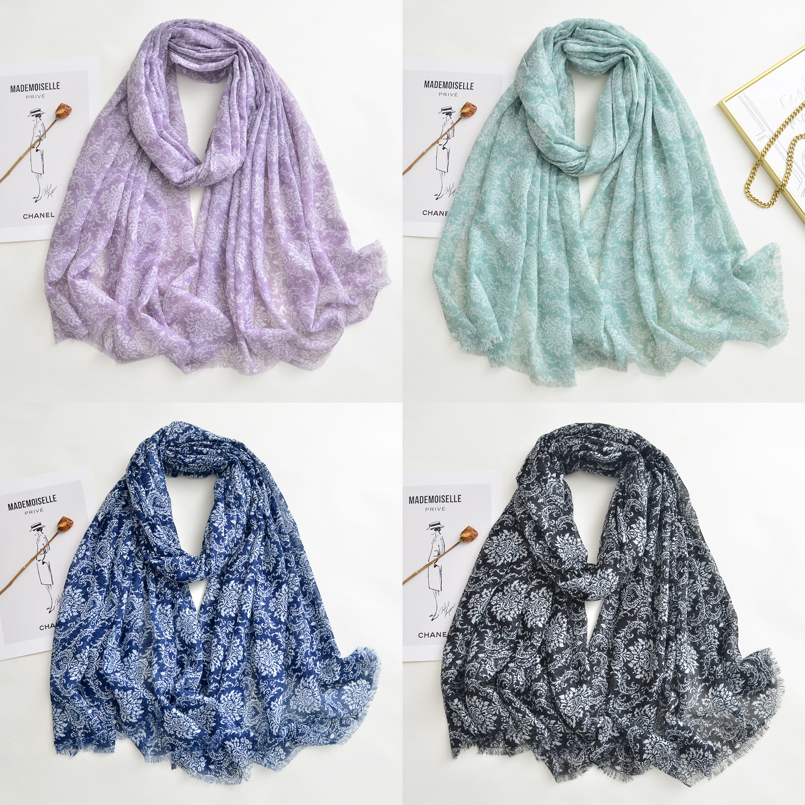 2021 Newest Women Vintage Floral Printed Scarf Cotton Voile Scarf Shawls Wraps Hijabs