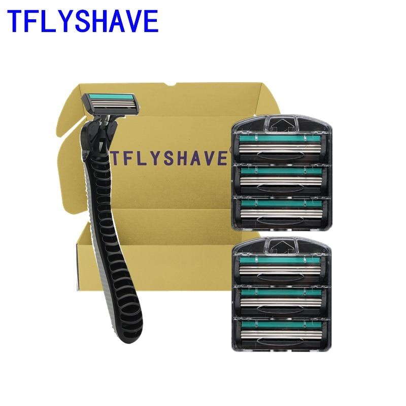 TFLYSHAVE, 1 шт., держатель, 6 лезвий, Мужская бритва, лезвие для бритвы, ручная бритва, 3-слойное, возможно вращение, Сменное лезвие, нержавеющая сталь
