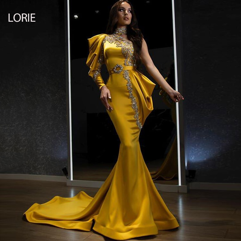 LORIE-فستان سهرة على شكل حورية البحر ، غير متماثل ، كتف عاري ، أكمام طويلة ، ساتان ، مطرز ، ذهبي ، فاخر ، المشاهير ، حفلة ، ترند 2021