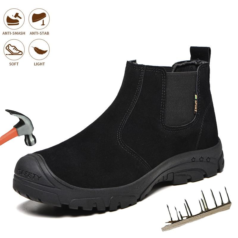 الرجال الأحذية أحذية أمان موضة الرجال العمل مقدمة حذاء من المعدن الذكور غير قابل للتدمير حذاء برقبة للعمل خفيفة الوزن تشيلسي الأحذية