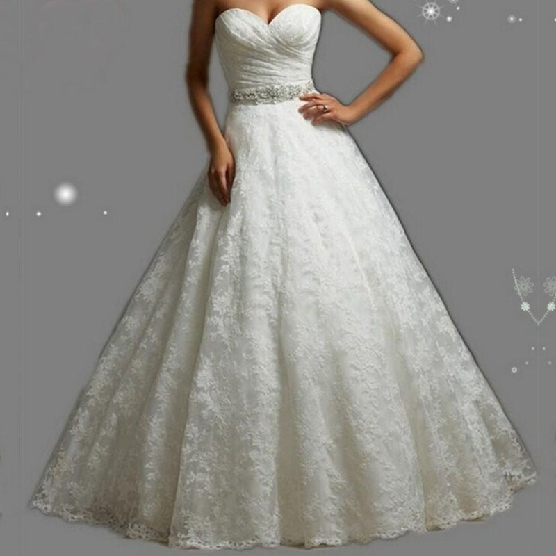 Get ZJ9057 2020 New White/Ivory Pleat Beading Crystal Ball Wedding Dresses Bride Dress Gowns US Size 2-26 Customer Made