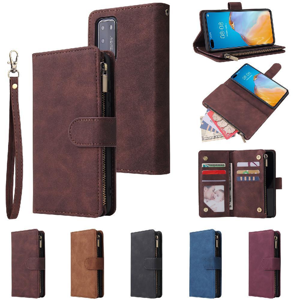 Para HUAWEI P40 carcasa del teléfono inteligente con diseño de cartera cierre de cremallera protección general cubierta de teléfono móvil