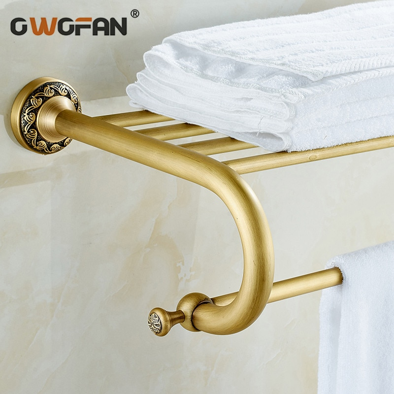 Bathroom Shelves Brass Towel Classical Accessories Double Layer Rack Antique Wall Mounted 8318F
