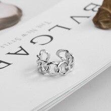 Silvology 925 argent Sterling armure large chaîne anneaux Frosty Style Texture élégant anneaux pour femmes argent 925 sauvage bijoux cadeau