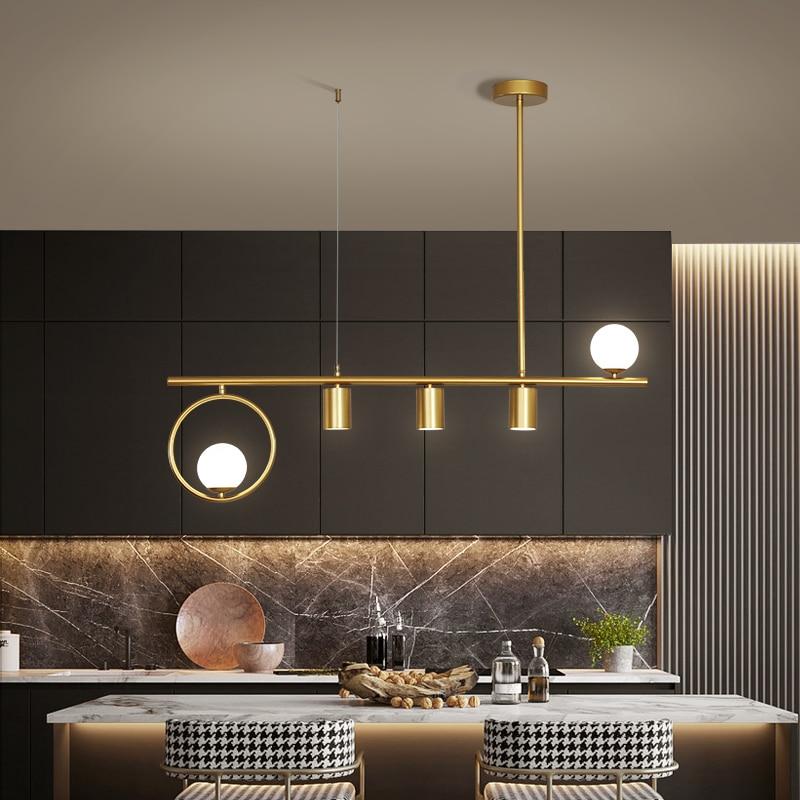 مصباح سقف LED معلق بتصميم إسكندنافي إبداعي ، لون ذهبي وأسود ، إضاءة داخلية زخرفية ، مثالي لغرفة الطعام أو المطبخ أو البار.