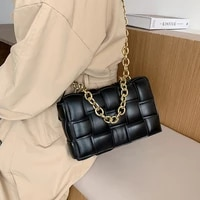 thick metal chain shoulder bag women woven soft square crossbody bags female fashion personality hand clutch bag high quality
