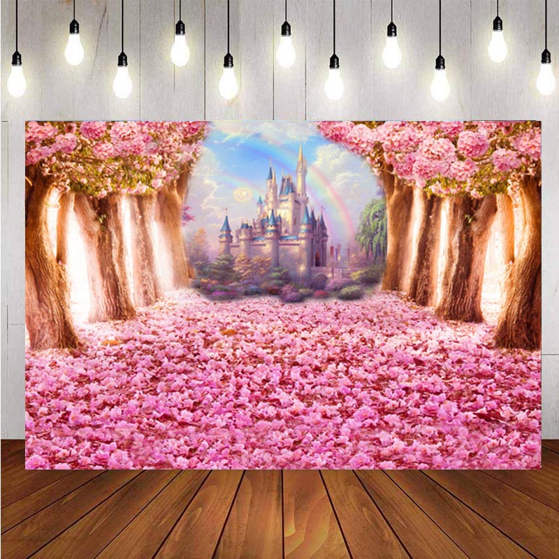Rainbow Fairy Tale Castle Photography Backdrop Flower Tree Girls Birthday Party Photo Background Banner Decoration Supplies