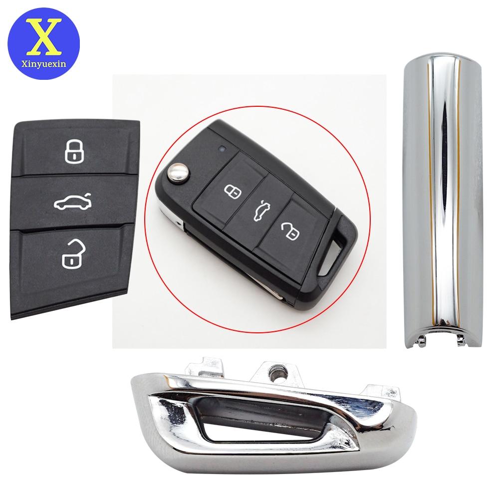 Xinyuexin-almohadilla de llave para coche, pieza metálica brillante para Vw Gollf 7...