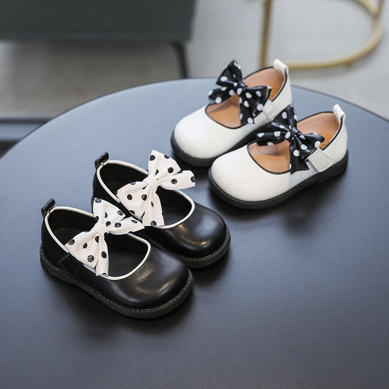 Girls Bow Leather Shoes 2021 Spring and Autumn New Childrens Single Shoes Small PU Leather Shoes Gir