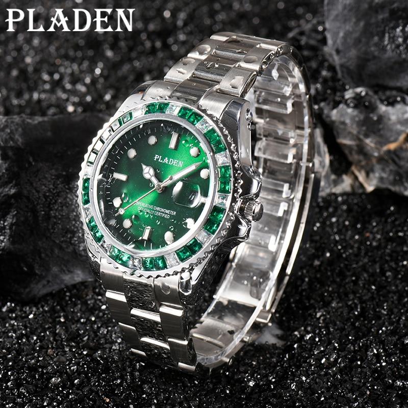 PLADEN Quartz Men's Watches Top Business Green Waterproof Stainless Steel Male Wrist Watch Luxury Lu