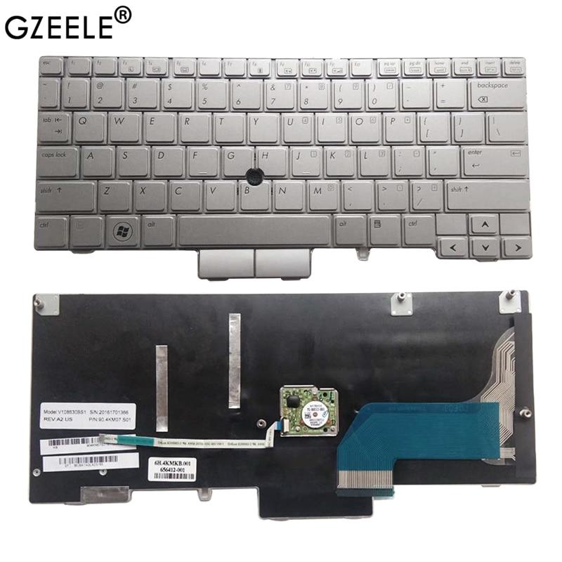 "GZEELE nuevo para HP Elitebook 2760P 12,1 ""teclado de portátil MP-09B63US64421 plateado con palo de Punta 90.4KM07.C01 649756-001 US"