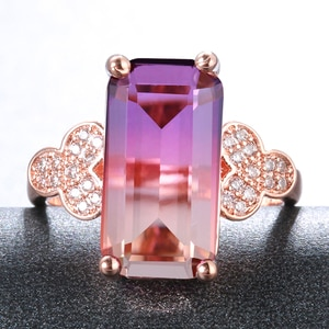 Fashion Luxury 925 Sterling Silver Tourmaline Gemstone Wedding Engagement Party Rose Gold Ring Fine Jewelry Gifts Wholesale