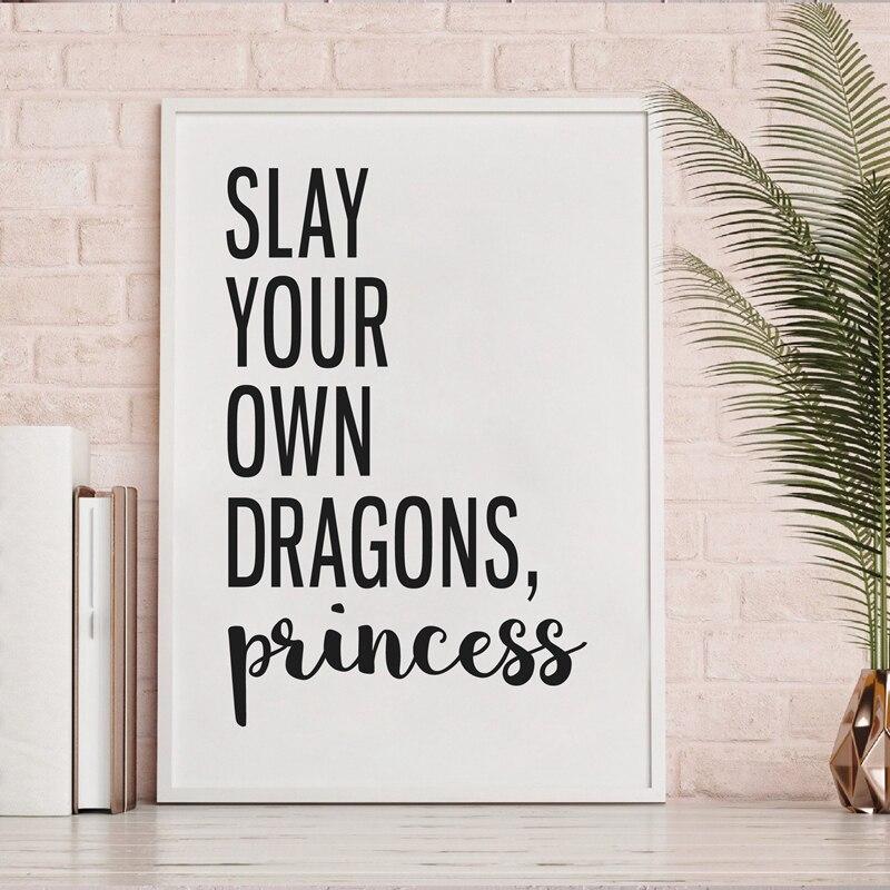 Lienzo Modular Slay Your Own Dragons Princess Painting Home Decor Girl cita fotos nórdico impreso póster para el arte de la pared del dormitorio