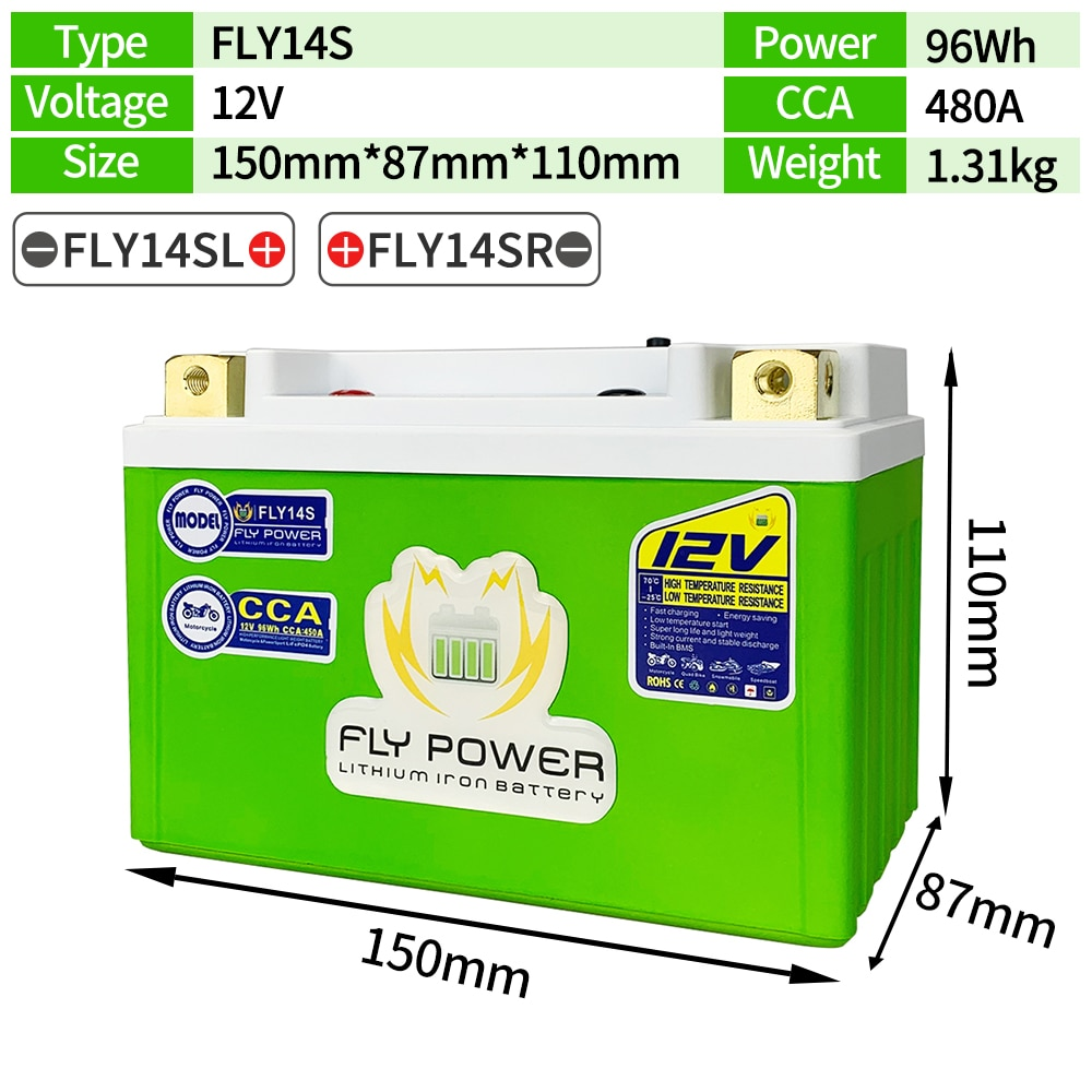 FLY14S-بطارية بدء تشغيل المحرك LiFePO4 ، 12 فولت ، CCA ، 480A ، 96Wh ، ليثيوم ، حديد ، فوسفات ، سكوتر ، BMS ، 12V ، YTZ14S ، GTZ14S